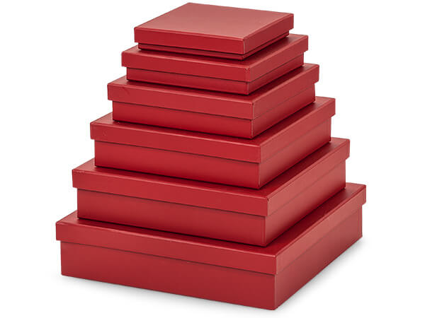 **Matte Red  Nested Gourmet Boxes ~ Set of 6