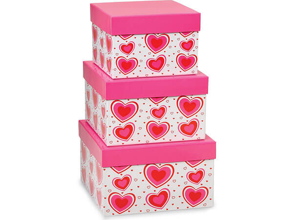 **Flirty Hearts Square Nested Boxes