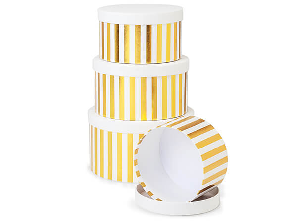 Metallic Gold Stripe Round Nested Boxes, Large 4 Piece Set