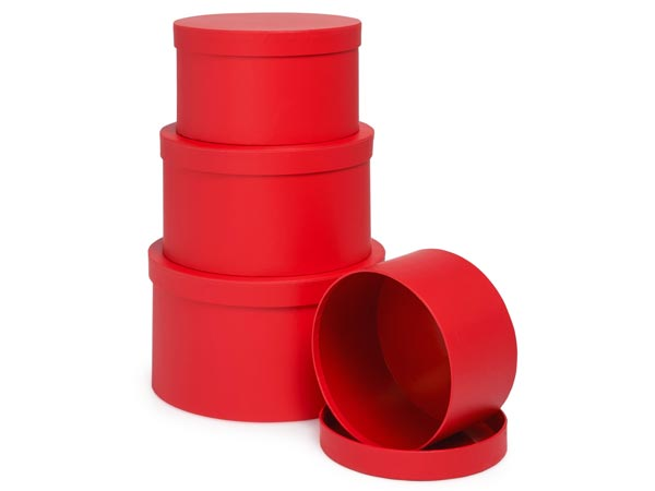 Red Round Nested Boxes, Large 4 Piece Set