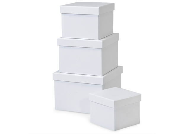 White Square 4 pc Nested Boxes