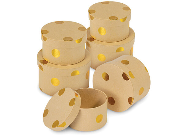 Brown Kraft Round Boxes with Gold Metallic Dots, 3 Nested Sets
