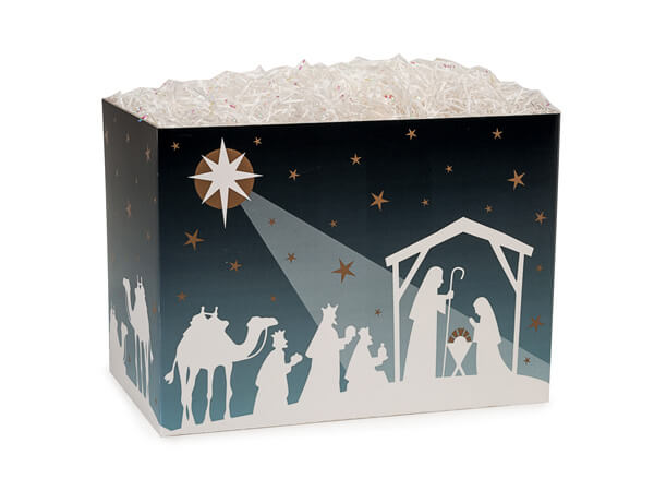 Small Nativity Star Basket Boxes 6-3/4x4x5""