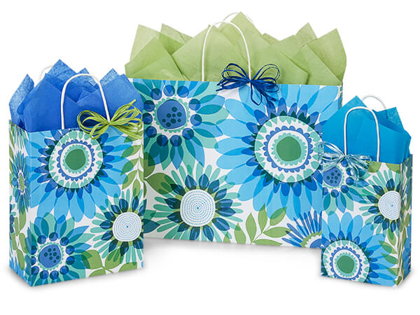 Ombre Flowers Shopping Bags