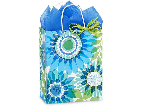 "Ombre Flowers Paper Shopping Bags, Cub 8.25x4.75x10.5"", 25 Pack"