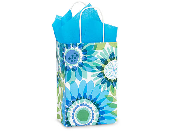 """**Ombre Flowers Paper Shopping Bags Rose 5.25x3.5x8.25"""", 25 Pack"""