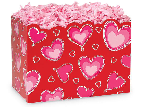 """*Large Ombre Hearts Basket Boxes 10-1/4 x 6 x 7-1/2"""""""