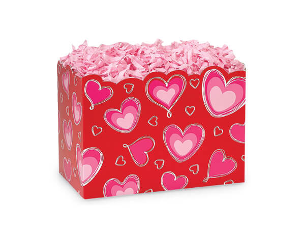 """*Small Ombre Hearts Basket Boxes 6-3/4 x 4 x 5"""""""