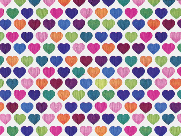 "Rainbow Hearts Tissue Paper 20x30"", 12 Soft Fold Sheets"