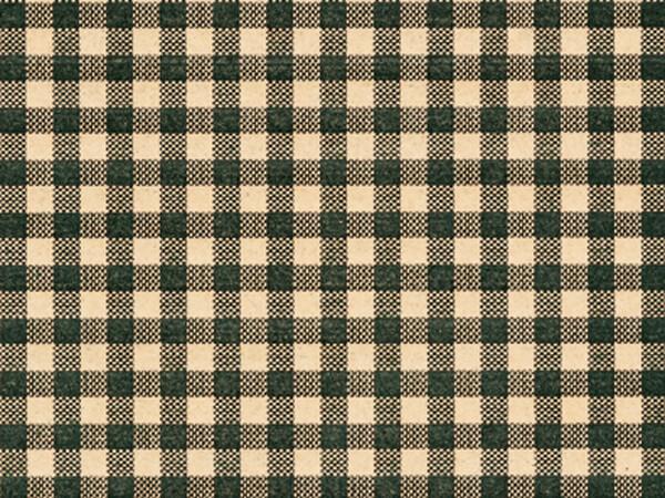 """Hunter Gingham Kraft Tissue Paper, 20x30"""", Bulk 120 Sheet Pack"""