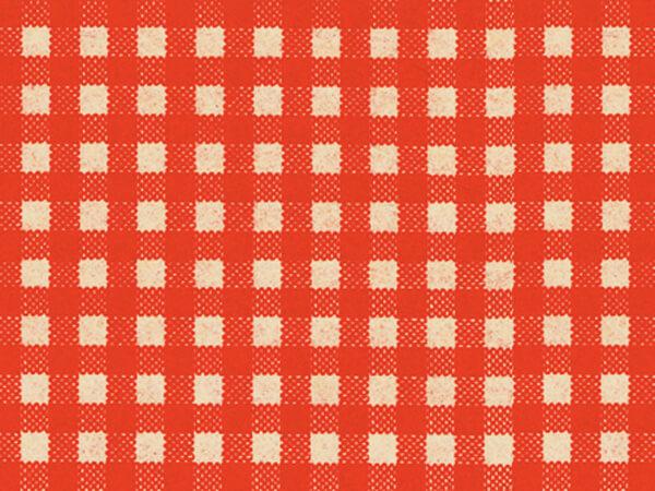 """Red Gingham Kraft Tissue Paper, 20x30"""", Bulk 120 Sheet Pack"""