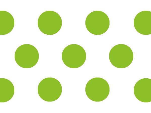 "Lime Green Polka Dots Tissue Paper 20x30"", Bulk 120 Sheet Pack"