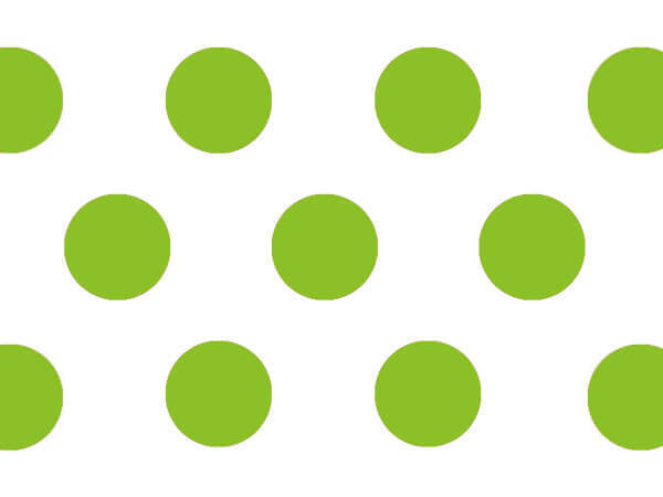 """Lime Green Polka Dots Tissue Paper 20x30"""", 12 Soft Fold Sheets"""