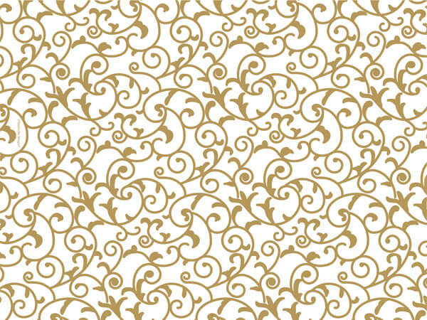 "Elegant Gold Scroll Tissue Paper, 20x30"", Bulk 240 Sheet Pack"