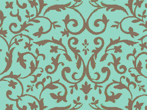 "Aqua & Chocolate Florentine Tissue, 20x30"", Bulk 120 Sheet Pack"