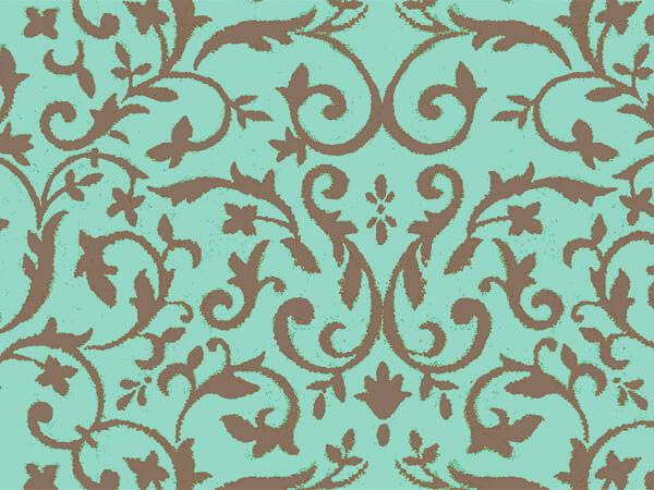 "*Aqua & Chocolate Florentine Tissue 20x30"", 12 Soft Fold Sheets"