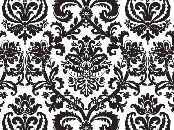 "Black Flourish Tissue Paper, 20x30"", Bulk 240 Sheet Pack"