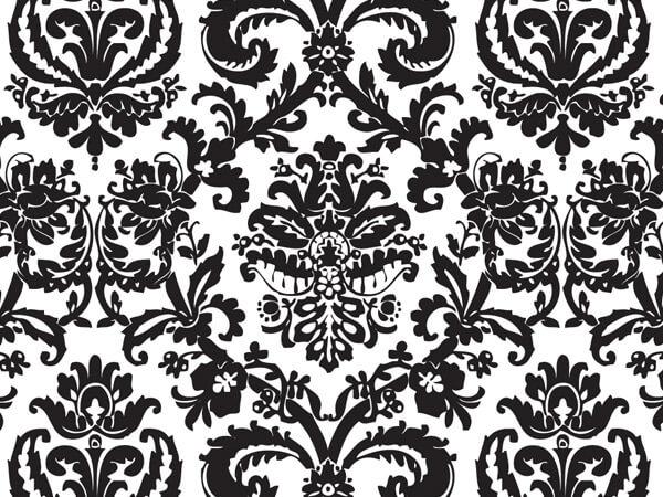 "Black Flourish Tissue Paper, 20x30"", 12 Soft Fold Sheets"