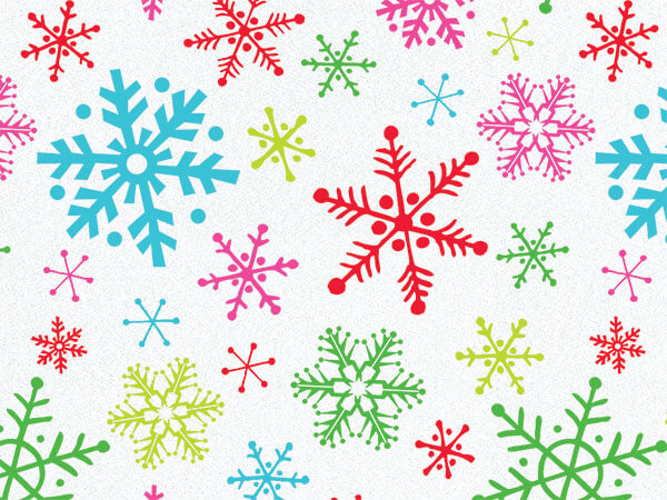 """Bright Snowflakes Tissue Paper, 20x30"""", 12 Soft Fold Sheets"""