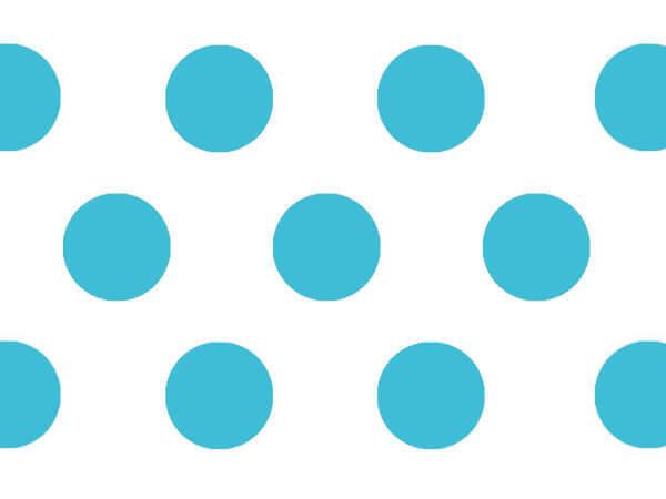 "Turquoise Polka Dots Tissue Paper, 20x30"", Bulk 120 Sheet Pack"