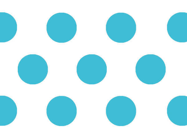 """Turquoise Polka Dots Tissue Paper, 20x30"""", 12 Soft Fold Sheets"""