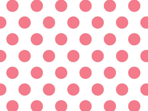 """*Coral Rose Polka Dot Tissue Paper 240~20""""x30"""" Sheets Recycled"""