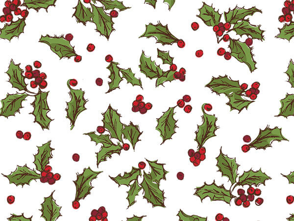 "Holly Berry Toss Tissue Paper, 20x30"", Bulk 120 Sheet Pack"