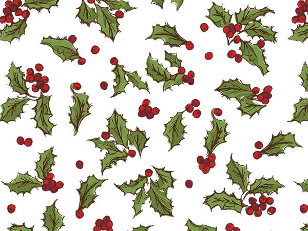 """Holly Berry Toss Tissue Paper, 20x30"""", 12 Soft Fold Sheets"""
