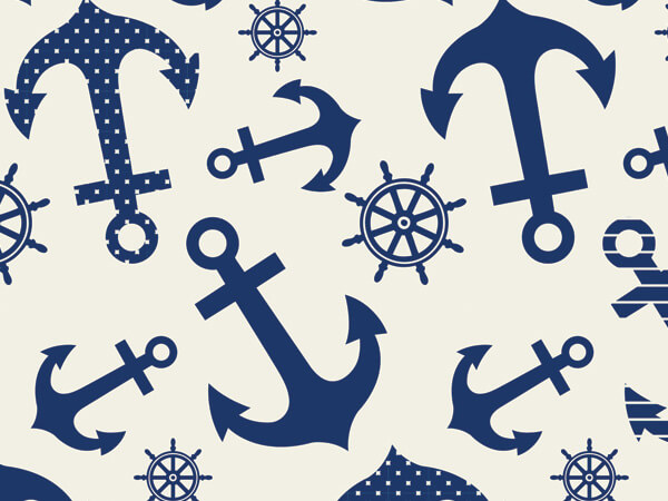 "Blue Indigo Anchors Tissue Paper, 20x30"", Bulk 120 Sheet Pack"