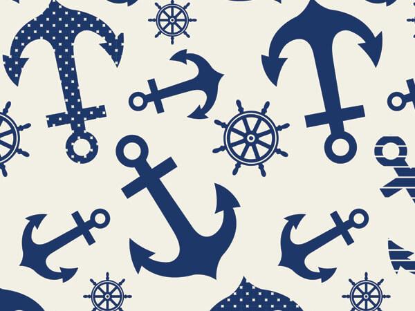 "Blue Indigo Anchors Tissue Paper, 20x30"", 12 Soft Fold Sheets"
