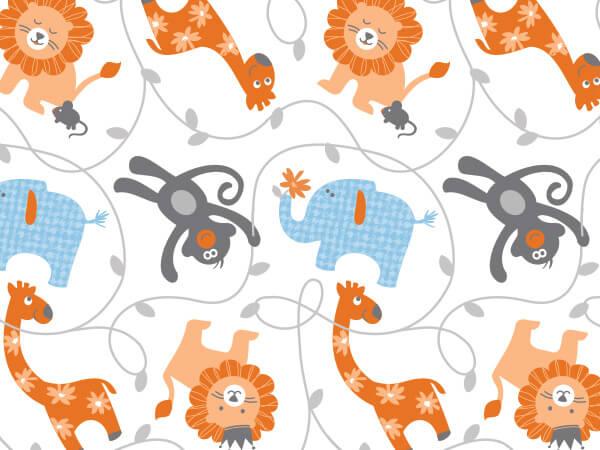 "Sweet Safari Tissue Paper, 20x30"", Bulk 120 Sheet Pack"