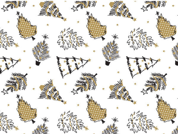 """Golden Holiday Trees Tissue Paper, 20x30"""", Bulk 120 Sheet Pack"""
