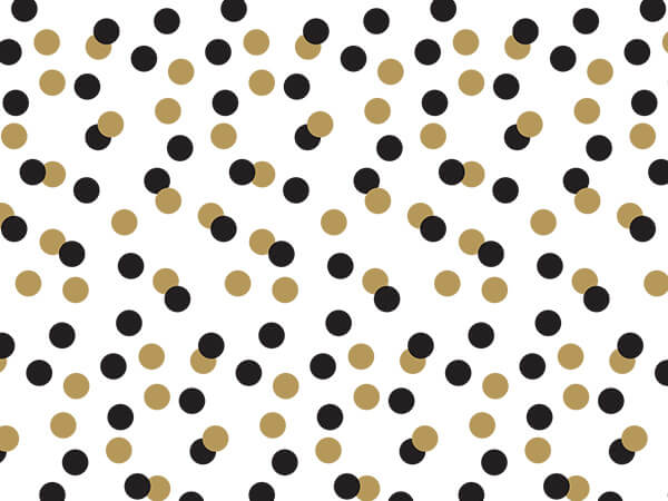 """Golden Holiday Dots Tissue Paper, 20x30"""", 12 Soft Fold Sheets"""