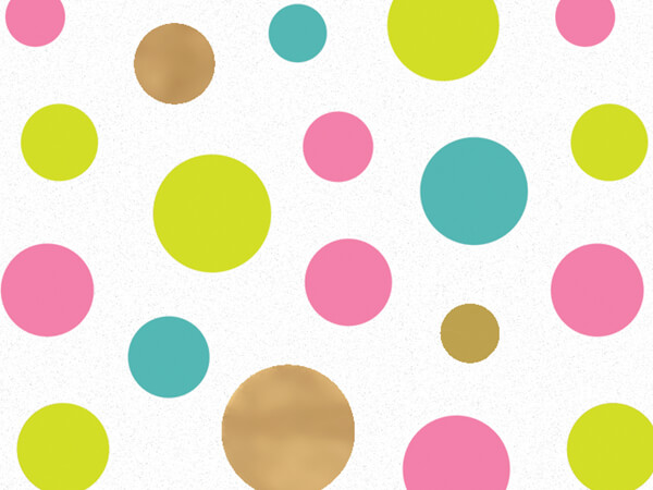 "Golden Wishes Dots Tissue Paper, 20x30"", Bulk 240 Sheet Pack"
