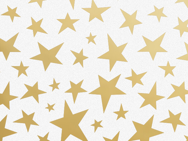 "Golden Stars Tissue Paper, 20x30"", Bulk 120 Sheet Pack"