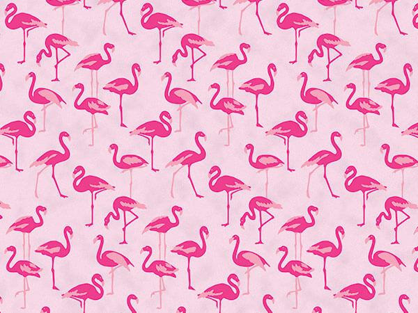 "Pink Flamingo Paradise Tissue Paper 20x30"", Bulk 120 Sheet Pack"