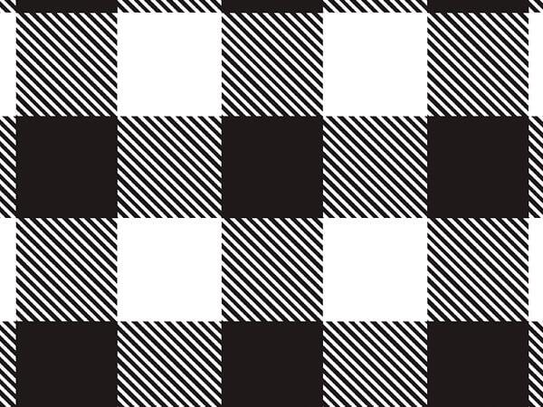 "Buffalo Plaid Black Tissue Paper, 20x30"", Bulk 120 Sheet Pack"