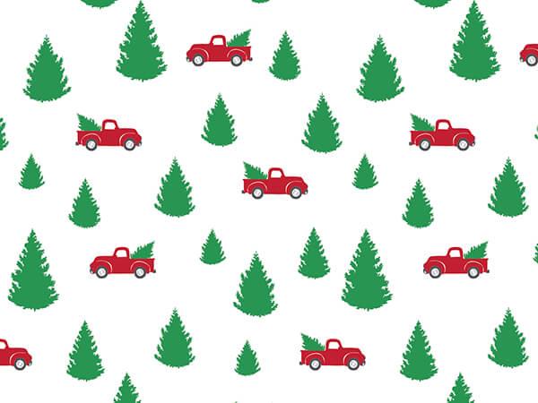 "Tree Farm Christmas Red Truck Tissue 20""x30"", 12 Soft Fold Sheets"