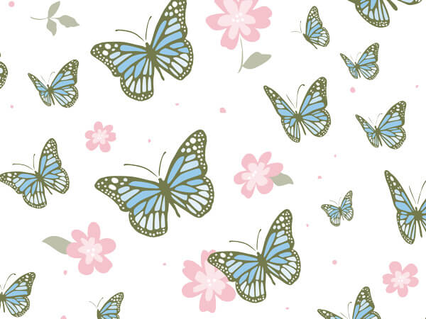 "Butterfly Garden Tissue Paper 20x30"", 12 Soft Fold Sheets"