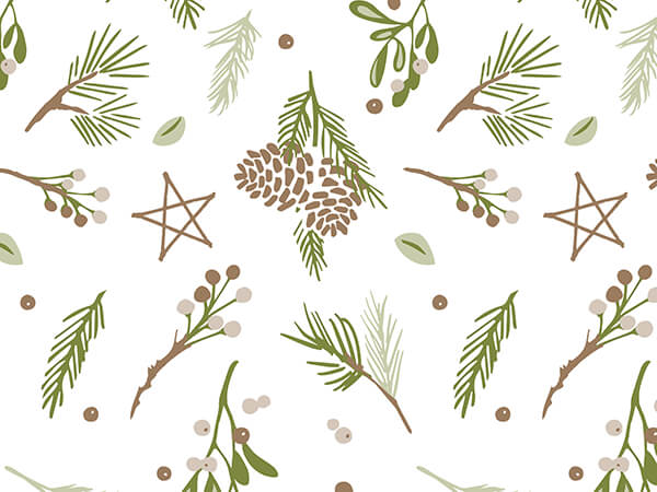 """Pine Holiday Tissue Paper 20x30"""", 12 Soft Fold Sheets"""