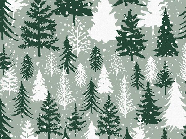 "Snowy Pines Tissue Paper 20x30"", Bulk 120 Sheet Pack"