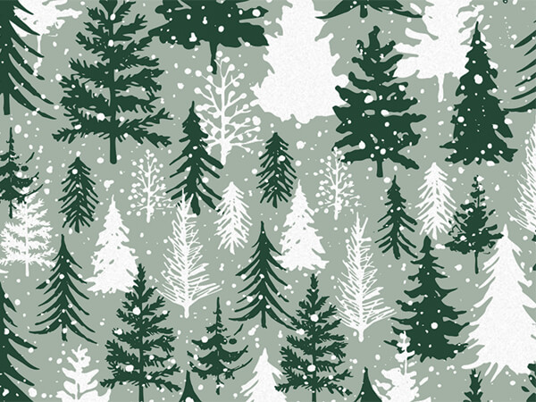 """Snowy Pines Tissue Paper 20x30"""", 12 Soft Fold Sheets"""