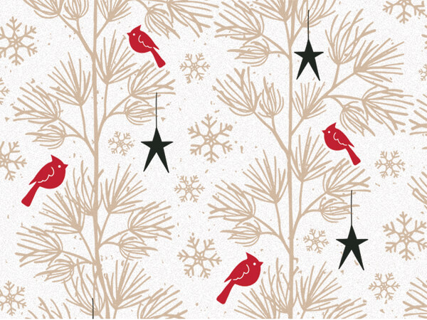 "Rustic Red Birds Tissue Paper 20x30"", Bulk 120 Sheet Pack"