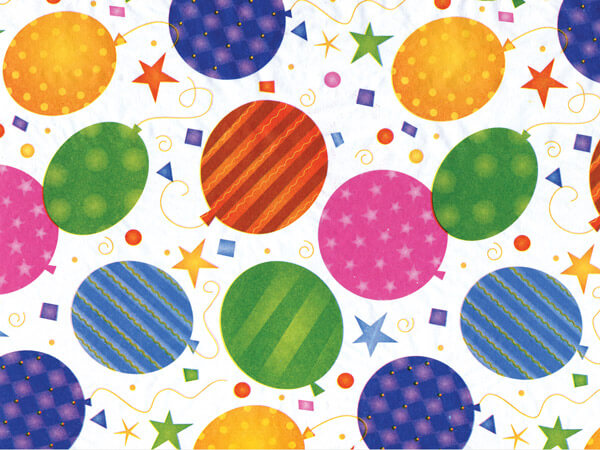 """Festive Balloons Tissue Paper 20x30"""", Bulk 200 Sheet Pack"""