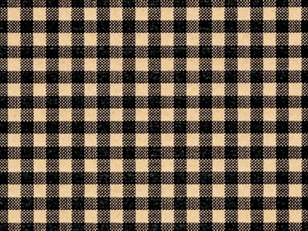 """Black Gingham Kraft Tissue Paper, 20x30"""", Bulk 120 Sheet Pack"""
