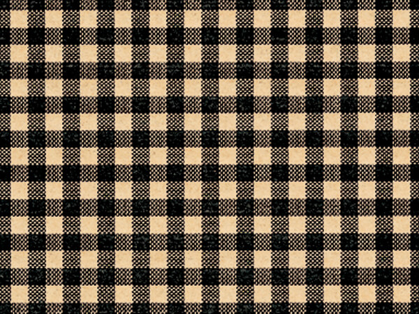 "Black Gingham Kraft Tissue Paper, 20x30"", 12 Soft Fold Sheets"