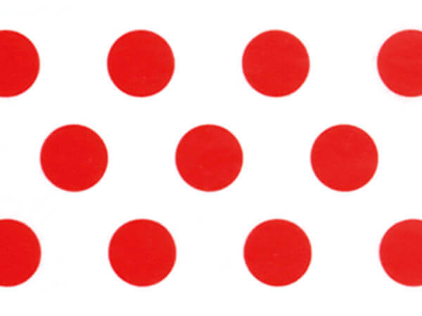 """Bright Red Polka Dots Tissue Paper, 20x30"""", 12 Soft Fold Sheets"""