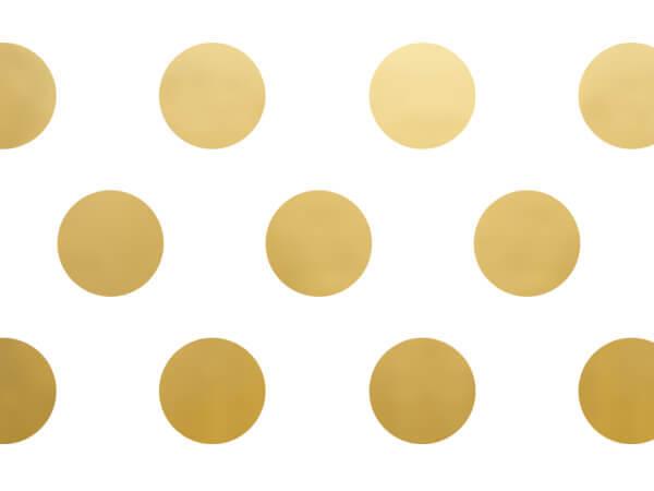 """Gold Metallic Dots Tissue Paper, 20x30"""", Bulk 120 Sheet Pack"""