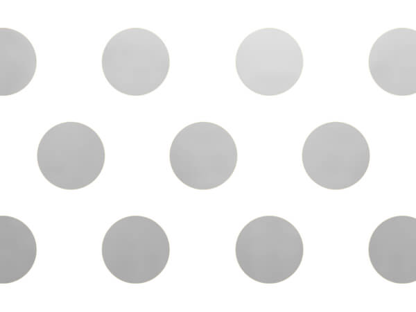 "Silver Metallic Dots Tissue Paper, 20x30"", Bulk 240 Sheet Pack"