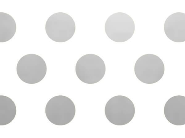 "Silver Metallic Dots Tissue Paper, 20x30"", 12 Soft Fold Sheets"